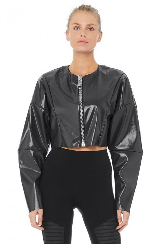 Женская лаковая курточка Liquid антрацит