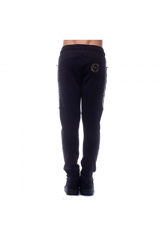 Спортивные штаны с полосками на коленах и лентами по бокам черные
