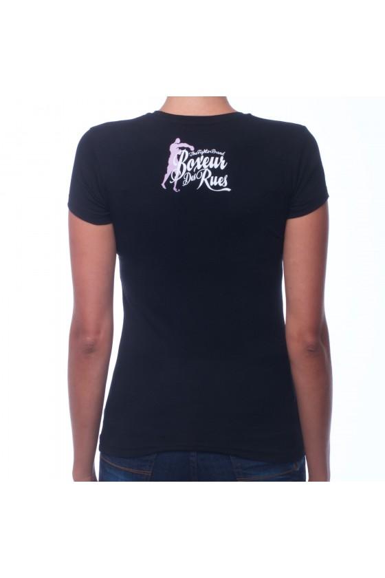 Жіноча футболка з круглим коміром, логотипом спереду і графічним принтом на спині чорна
