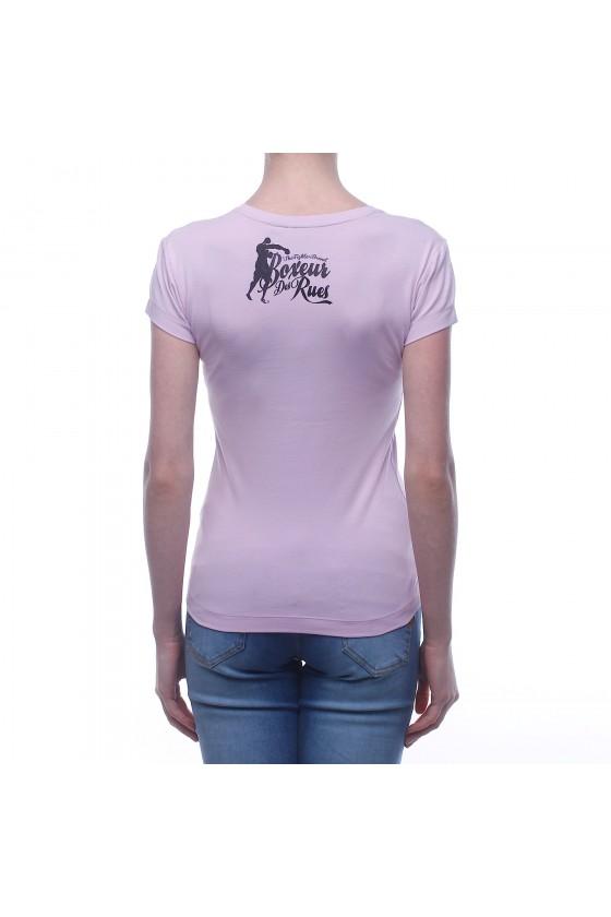 Жіноча футболка з круглим коміром, логотипом спереду і графічним принтом на спині рожева