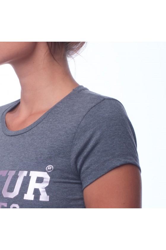 Жіноча футболка з круглим коміром, логотипом спереду і графічним принтом на спині антрацит крейда