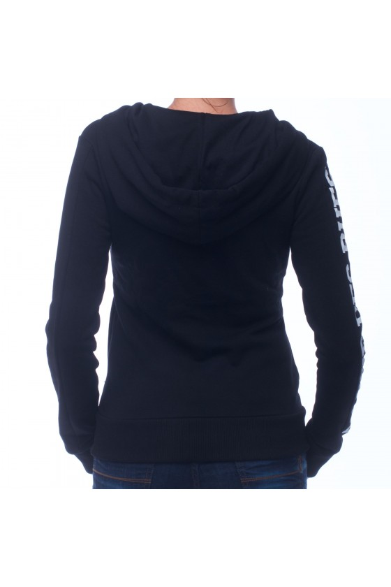 Женская худи на замке с графическим принтом спереди и логотипом на правом рукаве черная