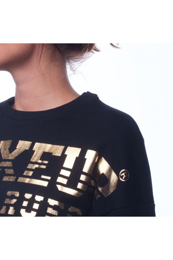 Женский короткий свитшот с фольгированным логотипом на груди черный
