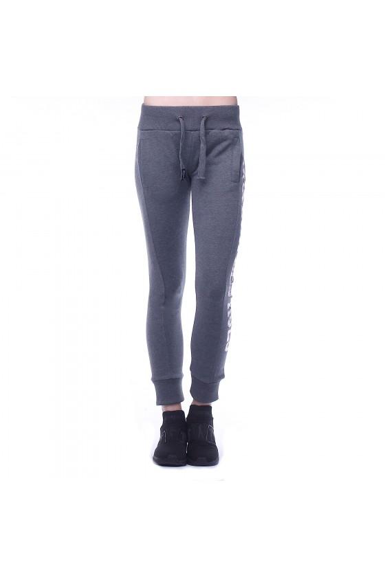 Женские спортивные штаны с логотипом сбоку на левой ноге антрацит мел