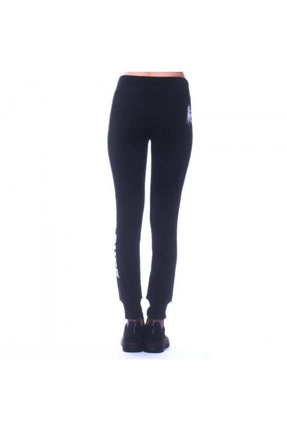 Жіночі спортивні штани з логотипом збоку на лівій нозі чорні