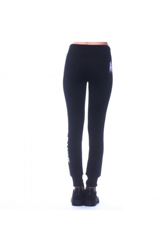 Женские спортивные штаны с логотипом сбоку на левой ноге черные
