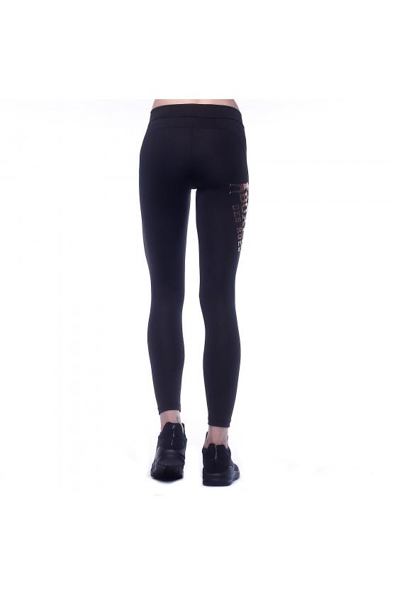 Леггинсы с фольгированным принтом сбоку на правой ноге черные/розовые/золотые